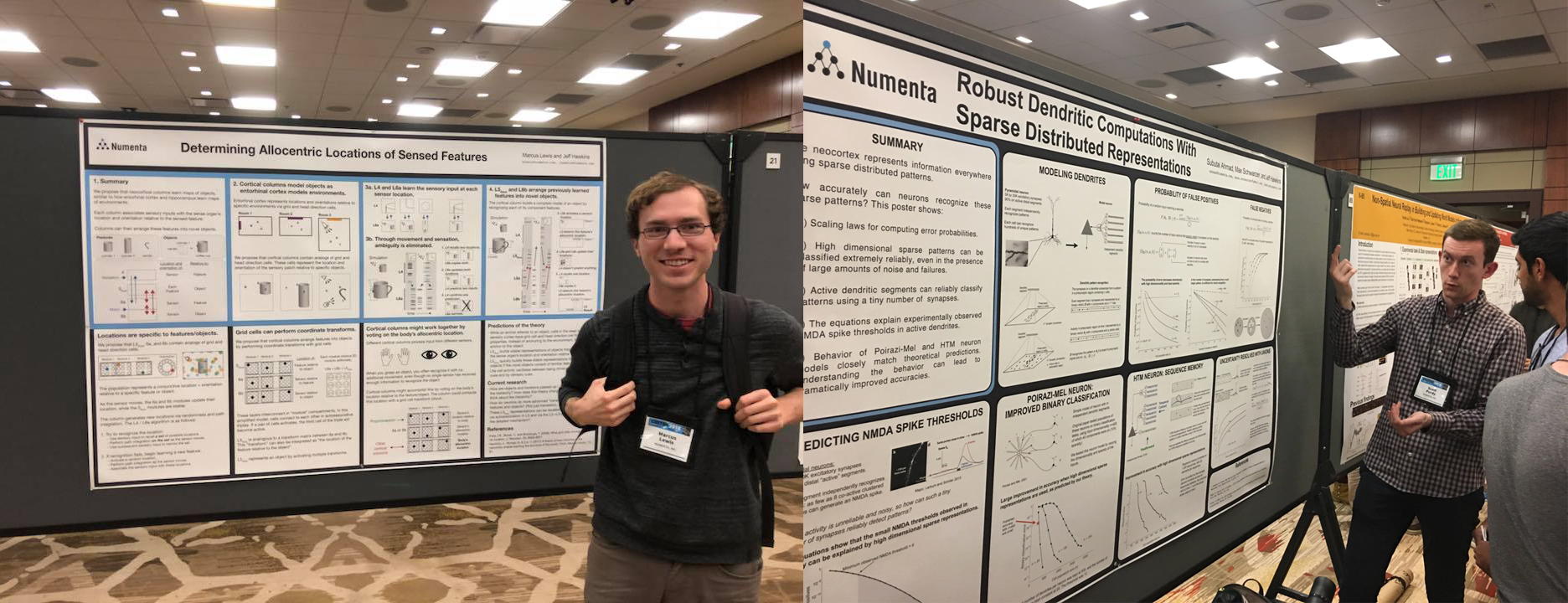 Numenta Cosyne 2018 - Marcus and Scott with Cosyne 2018 posters